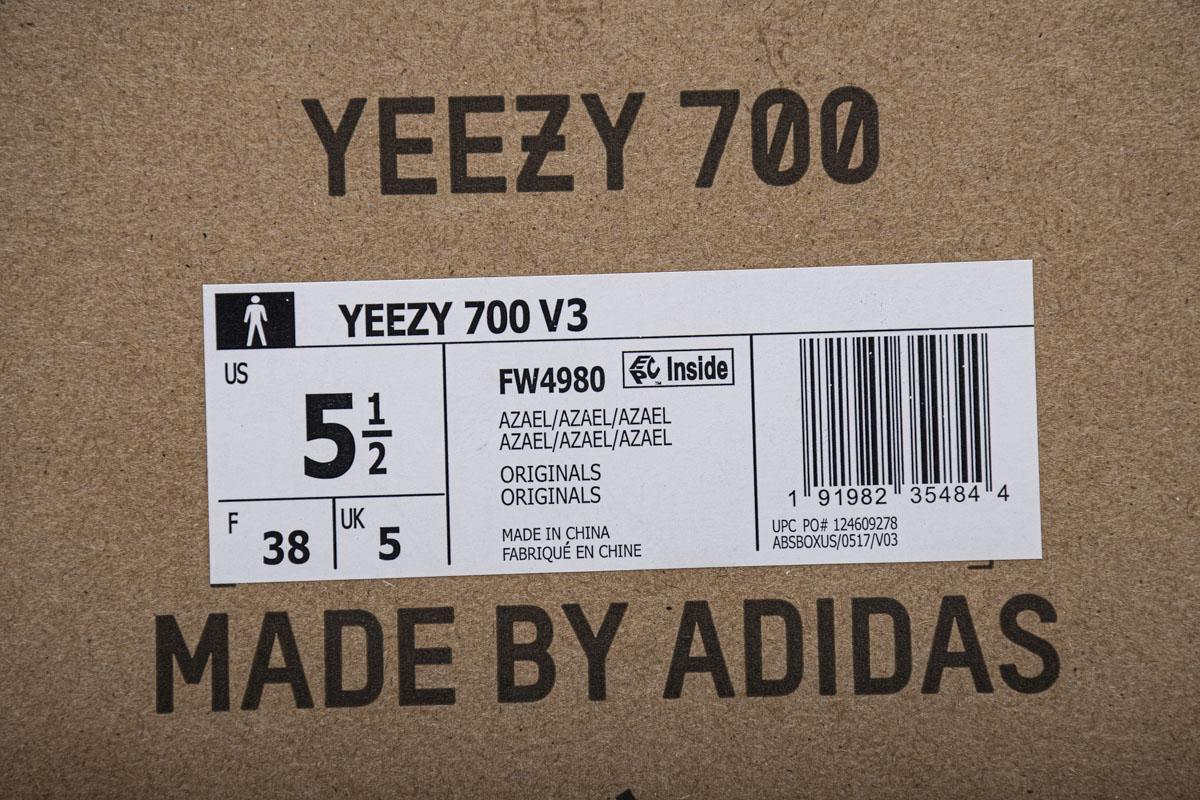 """JC700V3 乳白色 JC700V3  adidas Yeezy 700 V3 """"Azael""""Real Boost"""