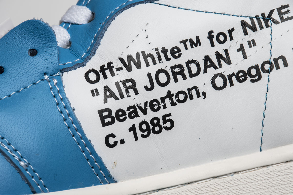 TS乔1 TS北卡蓝OW Off White x Air Jordan 1 Off White UNC