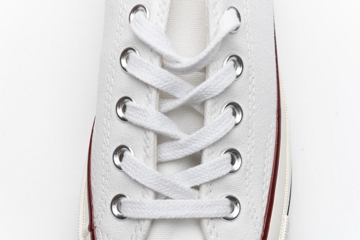 匡威低帮双围条蓝底帆布板鞋 白色 Converse Chuck 70 OX White Garnet Egret