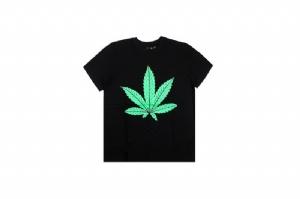 潮牌短袖 大V绿叶 Street Wear Black