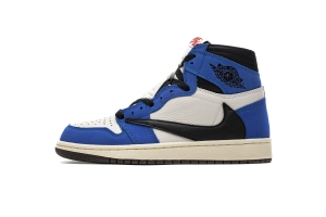 35乔1 倒钩黑蓝  35乔1 Air Jordan 1 High OG TS SP White Blue