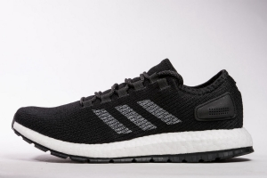 小椰子 黑白条8801-20 Adidas Pure Boost Running  Black White