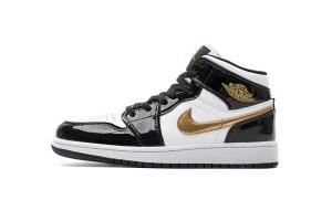 XH乔1中帮 黑金脚趾 Air Jordan 1 Mid Black Gold Patent Leather