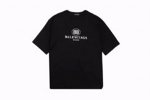 巴黎世家短袖 双B印花黑 Balenciaga Black