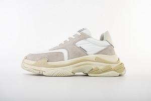 LD二代复古 二代全白灰 Balenciaga Triple S 2.0 All white Grey