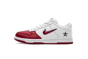 耐克Dunk SB 白红 OFF-WHITE X Nike Dunk SB Low Nike SB Dunk Low OG Jewel Swoosh Red