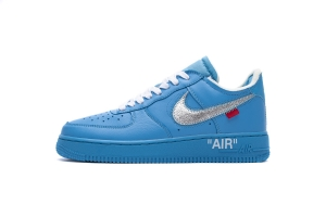 STOS空军 蓝色OW OFF WHITE X Nike Air Force 1 Low  Low MCA University Blue