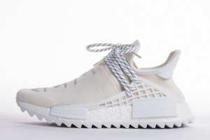 TS菲董 全白梵文 pharrell Williams x Adidas Originals HU NMD Cream